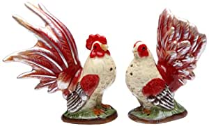 Appletree Design A Day in the Country Rooster Salt and Pepper Set, 4-3/8-Inch