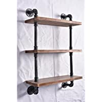 Industrial Pipe Shelving Bookshelf Rustic Modern Wood Ladder Pipe Wall Shelf 3 Tiers Wrought IronPipe Design Bookshelf Diy Shelving