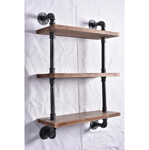 Cheap  Industrial Pipe Shelving Bookshelf Rustic Modern Wood Ladder Pipe Wall Shelf 3..