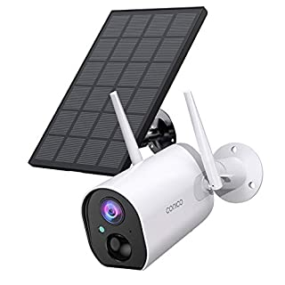 Outdoor Security Camera, Conico Wireless Solar Powered Rechargeable Battery Home IP Camera Surveillance WiFi Cam with Solar Panel Night Vision Two Way Audio PIR Motion Detection IP65 Waterproof