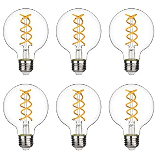 G25(G80) 4.5W Vintage Globe Edison LED Bulb, Soft White 2700K, Antique Flexible Spiral Filament Light Bulb, Dimmable 450lm, 4.5W Equivalent to 40W, E26 Medium Base, Clear Glass (G80-4.5W-2700K-6pack)