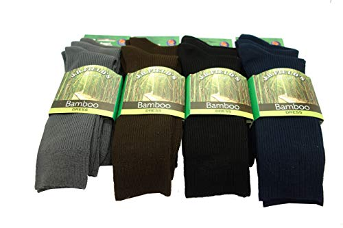 - Men's Rayon from Bamboo Ribbed Crew Dress Socks (3 Pair) (Charcoal)