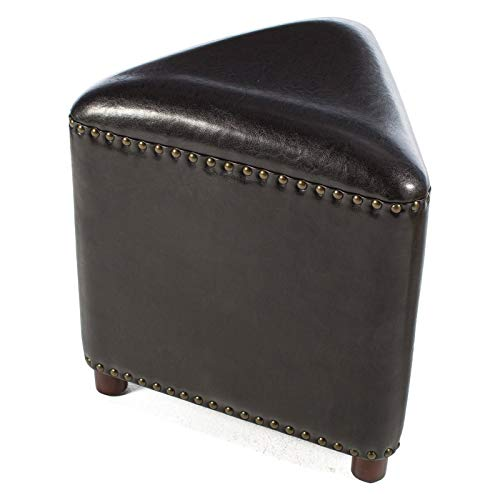 - Designer Home Black Contemporary Bonded Leather Triangle Shaped Ottoman Foot Stool Footrest Nailhead Accents