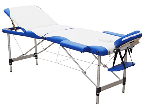 FirstWell Portable Massage Table Folding Aluminium 3 Section Height Adjustable Professional Lightweight Massage Bed Facial SPA Tattoo Bed with Free Oxford Carring Bag, Cream & Blue