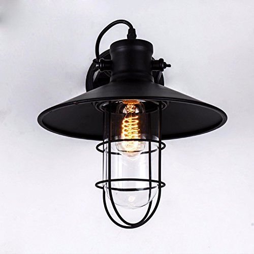 QIMLIGHT Modern Wall Sconces Lights Industrial Vintage Bedside Lamp Staircase Balcony Wrought Iron Bird Cage Night Light for Pathway, Staircase, Bedroom, Balcony