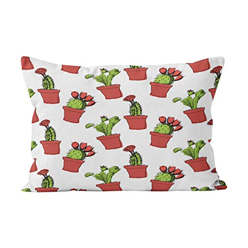 Wesbin Cactus Garden Planter Hot Hidden Zipper Home Decorative Rectangle Throw Pillow Cover Cushion Case Inch 12x24 Lumbar One Side Design Printed Pillowcase