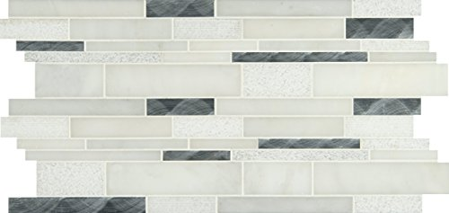 Metal Mosaic Tile - M S International Moderno Blanco Interlocking 12 In. X 18 In. X 8 mm Metal/Stone Blend Mesh-Mounted Mosaic Tile, (15 sq. ft., 10 pieces per case)