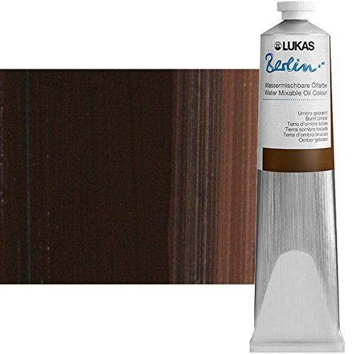 LUKAS Berlin Professional Quality Water Mixable Oil Color Paint Highly Pigmented Beeswax Oil Paint - Single 200 ml Tube - Burnt (Umber Wax)