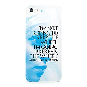 Loud Universe Game of Thrones Case Khaleesi Break The Wheel Quote Mother of Dragons Printed Edges Wrap Around iPhone 5s Case - White and Blue