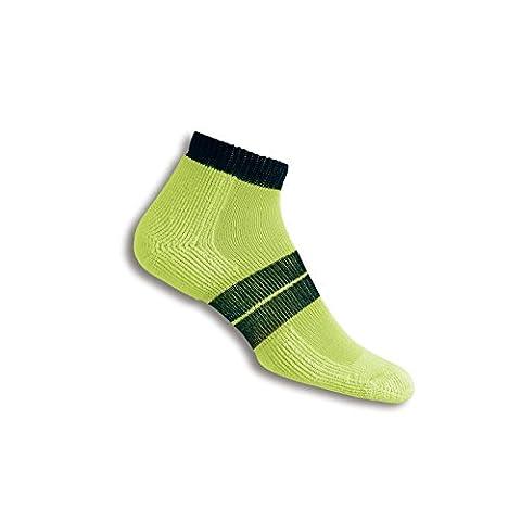Thorlos 84N Men'S Runner Micro Mini Sock Size: M, Elec Yellow/Blk with a Helicase Sock Ring - 84n Runner