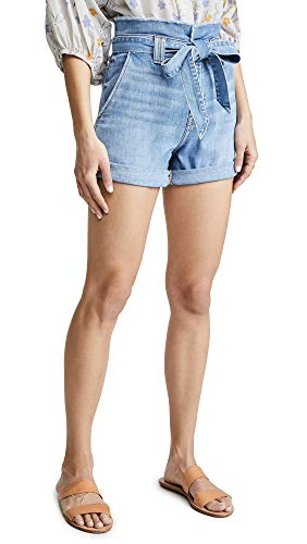 7 For All Mankind Women's Paperbag Shorts, Bright Blue Jay, 24 ()