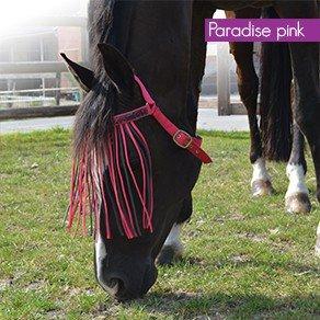 Fliegenfransen tragbar ohne Halfter, Fliegenschutz in modernen Farben, Groesse:Pony;Farbe:Paradise Pink