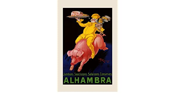 Alhambra Chef Riding Pig Pork Ham Food Can French Vintage Poster Repro FREE S//H