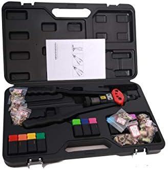 特許取得済みの16インチのマニュアルリベットガン取り付けツールには、交換可能なマンドレル11個(M3、M4、M5 M6 M8 M10 M12、10-24、1/4-20、5/16-18、8-32)とリベットナット110個が含まれます。