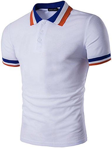 Whatlees Mens Boys Short Sleeve Contrast Stripes Collar Breathable Button Down Golf Office Polo Shirt B470-White-S