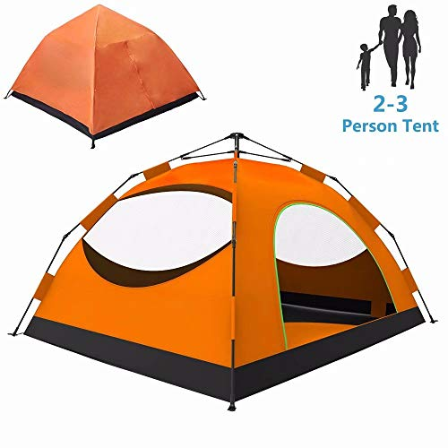 LETHMIK Backpacking Tent, Instant Automatic pop up Tent, 2-3 Person, Lightweight Double Layer Camping Tent for Outdoor Hunting, Hiking, Climbing, Travel, Orange