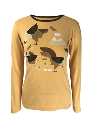 Green 3 Fall Chicken Long Sleeve Shirt (Golden Yellow) - 100% Organic Cotton Womens T Shirt, Made In The USA - Online In Purchase Usa