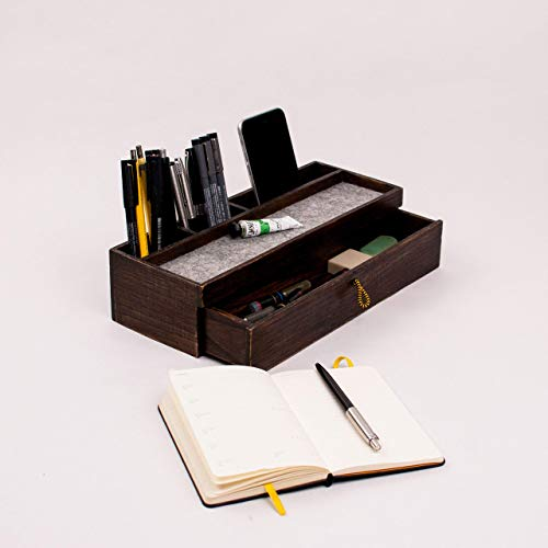 Wood desk organizer with drawer - Classic walnut office desk organization - Exclusive office desktop accesories Christmas gift