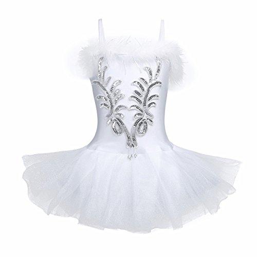iiniim Girls Sequined Beads Ballet Tutu Dress Leotard Outfit White Swan Party Dance wear Costumes Gloves Hair Clip Siler White -