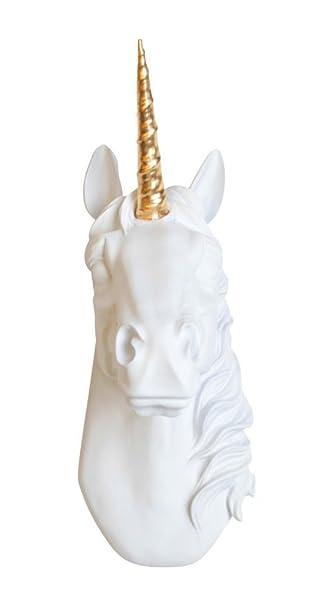 Unicorn Head Wall Mount The Bayer In White With Gold Alicorn Magical Unicorn Decor