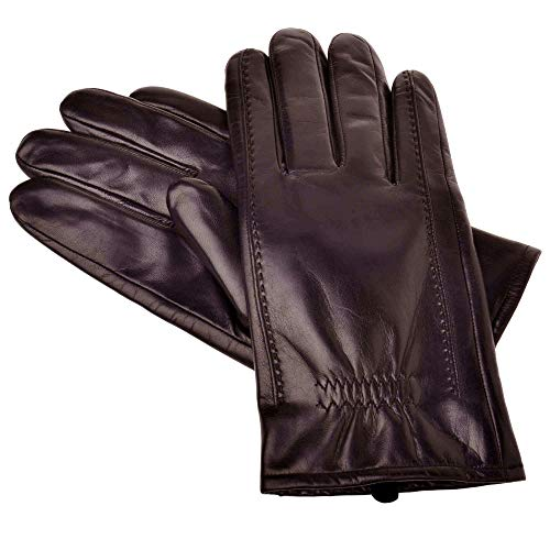 YISEVEN Men's Buttery-Soft Lambskin Winter Leather Gloves Fleece Lined Spring Winter Hand Warm Fur Heated Lining Dress and Motorcycle Driving Real Luxury Stylish Holiday Xmas Gift,Brown ()