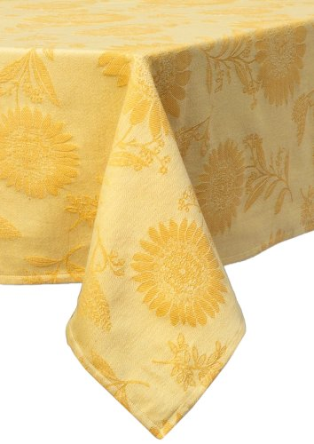 Mahogany Sunflower Jacquard Rectangle Tablecloth, 60 by 90-Inch, Yellow ()