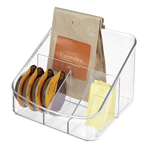 InterDesign Linus Coffee Supply Organizer for Filters, Beans, Sugar, Creamer, Tea Bags - Clear