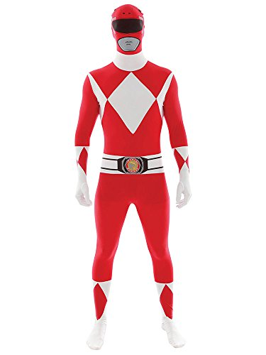 Disguise Sabans Mighty Morphin Power Rangers Red Ranger Bodysuit Mens Adult Costume, Red/White, X-Large/42-46