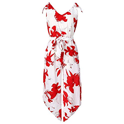 Thenxin Women's Summer Jumpsuit V-Neck Sleeveless Elastic Waist Belt Floral Print Long Rompers(Red,M)