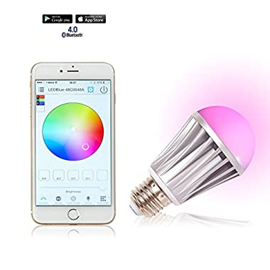 Smarson Bluetooth LED App Controlled Smart Light Bulb, Customizable Lighting, iOS and Android Compatible