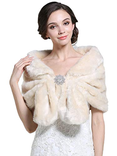Barogirl Women's Faux Fur Shawls and Wraps with Brooch Fur Stole Wedding Fur Shrug for Women (Heavy Hook And Eye Clasp)