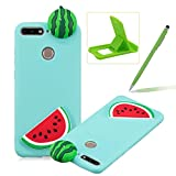 TPU Case for Huawei Honor 7A,Soft Rubber Cover for Huawei Honor 7A,Herzzer Ultra Slim Stylish 3D Watermelon Slice Series Design Scratch Resistant Shock Absorbing Flexible Silicone Back Case
