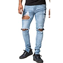 Men's Vintage Skinny Fit Destroyed Cotton Denim Jeans with Knee Open Rips