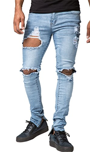 Men's Blue Ripped Destroyed Jeans Skinny Fit Distressed Holes with Zipper W28