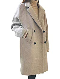 Plus Size, Womens Wool Coat Double-Breasted Pea Coat Lapel Trench Coat Outwear