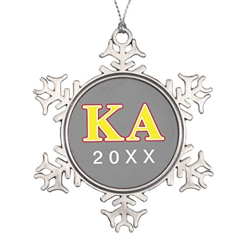 Vehfa Decorations Personalized Ornament Kappa Alpha Order Red and Yellow Letters Snowflake Pewter Christmas Ornament