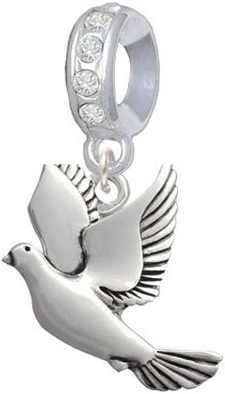 Silvertone Mini Hummingbird I Love You More Charm Bead