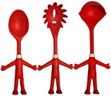 Mr. Spaghetti & Friends, Pasta Server Set, 3 Funny Kitchen Utensils, Spaghetti Spoon (Pasta Fork), Sauce Ladle and Serving Spoon, Great Present, 3 little Helping Hands for happy Chefs