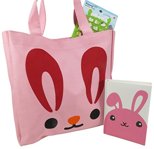 Easter Bunny Tote Bag Purse for Girls 10.75 x 10.5 Pink with Rabbit Pocket Notebook Journal Diary and 1 Sheet of 50 Puffy Rabbit Stickers (3 Piece Set) (Countries With The Letter X In Them)