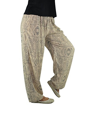Style Femmes Gemütlich Hippie Chic Unique Taille Ethnique l Hommes Bouffant S Pour Été Gris Pantalon Et Imprimé Fluide Les Leger wYA1Aq