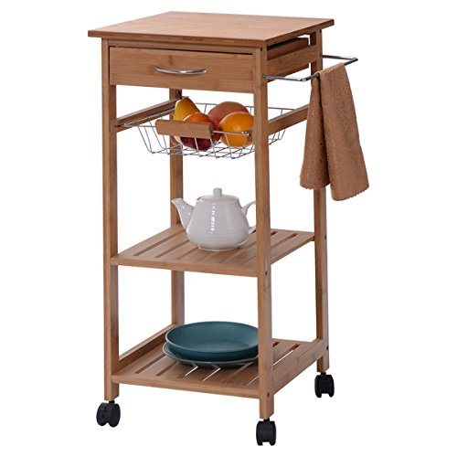 Eight24hours Rolling Bamboo Kitchen Trolley Cart Storage Shelf Island / Drawer Baskets New