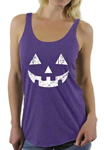25 Super Last Minute Costumes - Awkward Styles Women's Jack O' Halloween Pumpkin Racerback Tank Tops Halloween Easy Costume Idea Purple M