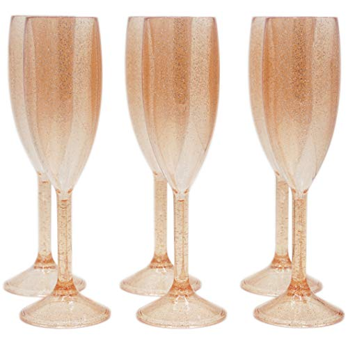 Plastic Champagne Flutes - SET OF 6 Premium Reusable Glasses - 100% Dishwasher Safe - Recyclable & Shatterproof Cups | Rose Gold