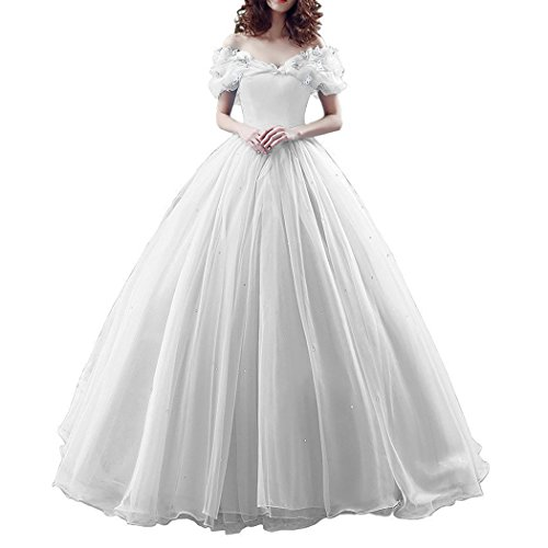 Plus Size Off Shoulder Cinderella Prom Quinceanera Dress Ball Gown Wedding White US 20W ()