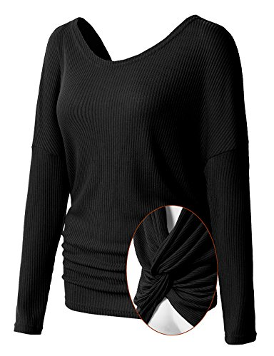 H2H Womens Solid Baggy V-Neck Sexy Twist Back Point Pullover Top Black US L/Asia L - Twist Top With Flat