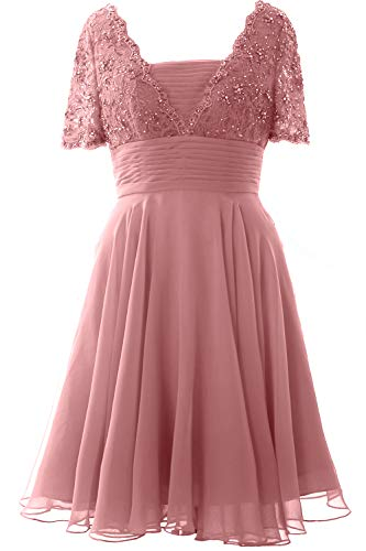 Dusty Party Mother Macloth Midi Sleeves Women Of Bride Lace Formal Short Pink Dress Gown dtQrhs