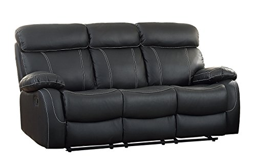 Amazon.com: Homelegance 8326BLK-3 Pendu Reclining Sofa Top Grain ...