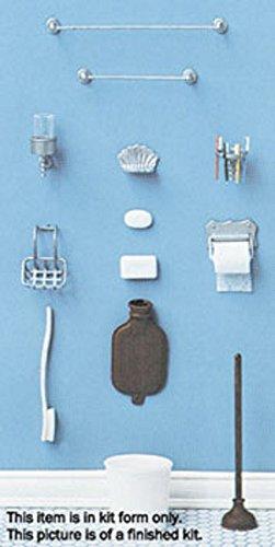 Chrysnbon Dollhouse Miniature Bathroom Accessories Kit