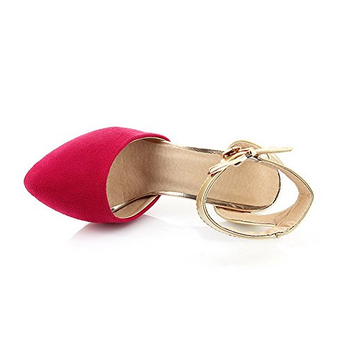VogueZone009 Womens Closed Toe Pointed Toe High Heels Xi Shi Velvet Frosted Assorted Colors Sandals RoseRed au9uhRknrM