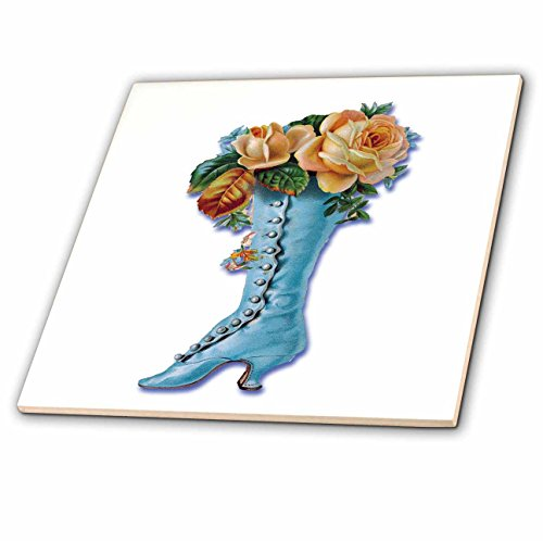 - 3dRose ct_170320_1 Pretty Light Blue Victorian Boot Filled with Peach Colored Roses-Ceramic Tile, 4-Inch
